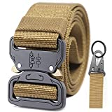Security Tactical Duty Belt Metal Men's Military Molle System Combat Gear Tool Utility Webbing Fire Fighters Strongest Adjustable Canvas Alloy Rescue Combat Training Armed band Belt(Coyote Tan)