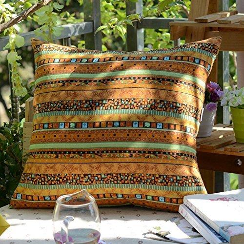 TAOSON Gold Stripe Bohemian Style Antique Cotton Blend Linen Sofa Throw Pillowcase Cushion Cover Pillow Cover with Hidden Zipper Closure Only Cover No Insert 18x18 Inch 45x45cm
