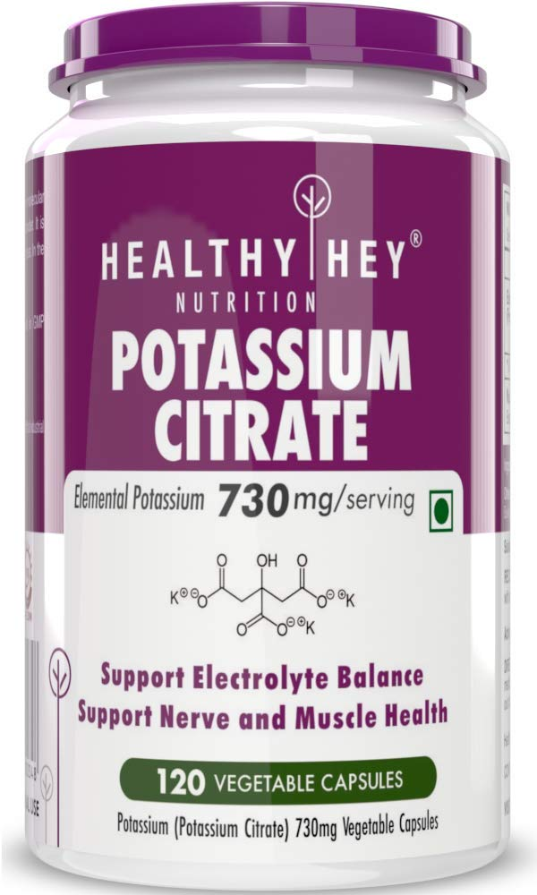 Healthyhey Nutrition Potassium Citrate 730mg - 120 Vegetable Capsules