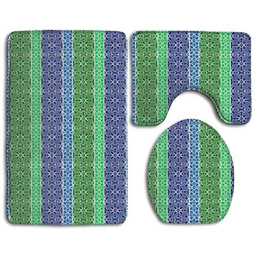 - Marble Mosaic Multi Stripes in Blues and Greens Fashion Bathroom Rug Mats Set 3 Piece Anti-Skid Pads Bath Mat + Contour + Toilet Lid Cover