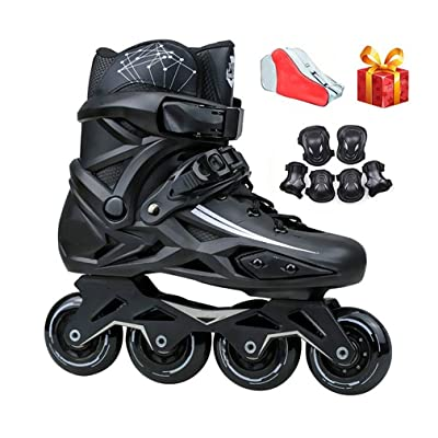 Sljj Inline Skates, Adult Male and Female White and Black Racing Skates (Color : Black, Size : 40 EU): Home & Kitchen