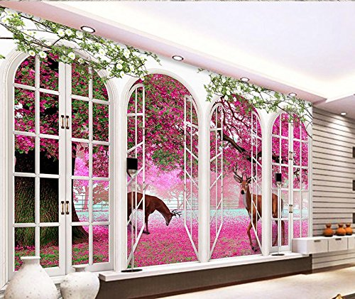 Elk Arches - Nevso 3D Wallpaper Mural Sticker 3D Wallpaper for Room European-Style Arches Cherry Blossoms Elk Home Decoration Photo Wallpaper for Walls 300cmX210cm
