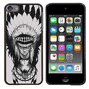 Caucho caso de Shell duro de la cubierta de accesorios de protección BY RAYDREAMMM - Apple iPod Touch 6 6th Touch6 - Pluma Jefe Decoración del tótem del lobo