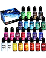 Alcohol Ink Set - 24 Highly Saturated Alcohol Inks - Acid-Free, Fast-Drying and Permanent Alcohol-Based Inks - Versatile Alcohol Ink for Resin, Tumblers, Fluid Art Painting, Ceramic, Glass and Metal