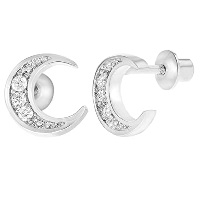 e2ea93508 Image Unavailable. Image not available for. Color: Rhodium Plated Clear  Crystal Moon Safety Screw Back Earrings for Girls