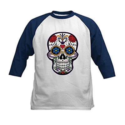 Truly Teague Kids Baseball Jersey Floral Sugar Skull Day Of The Dead - Navy/White, Large (14-16)