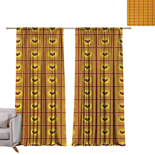 berrly Best Blackout Curtains Heart,Love Symbol with Striped Sunburst Background for Romantic Valentines Day,Vermilion and Yellow W72 x L84 Blackout Curtain Set