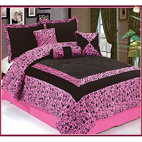 Dovedote Safarina Zebra Animal Print Comforter Set, Queen   Pink