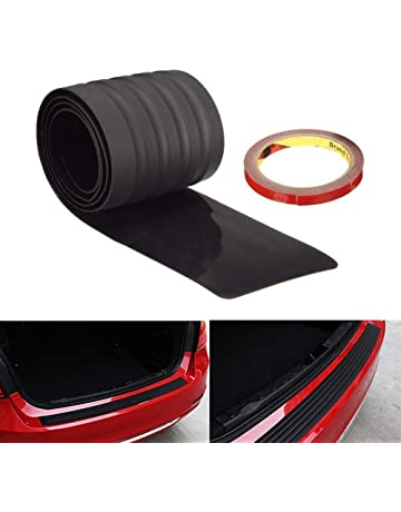 iJDMTOY (1 Black Rubber Rear Trunk Edge Guard Scratch Protector Cover Mat w/Double