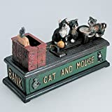 Bits and Pieces - Money in the Kitty Cast Iron Bank - Collectible Cast Iron Mechanical Bank
