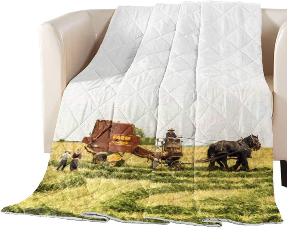Durable Down Alternative Quilt Comforter Oversized Queen for All Season, Oil Painting The Farmer is Ploughing The Field Lightweight Warm Duvet Insert Decorative Machine Washable for Couch Bed Sofa