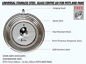 UNIVERSAL LID FOR POTS, FRYING PANS, AND MOST COOKWARE!STAINLESS STEEL TEMPERED GLASS WITH EXTRA KNOB! FITS 7 TO 12 INCH! STEAM VENT OVEN AND DISHWASHER SAFE
