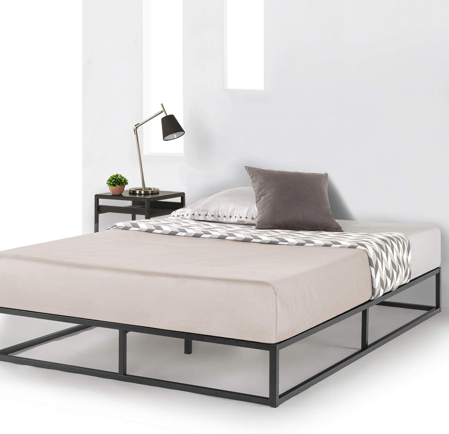 Mellow 10 Inch Metal Platform Bed Frame Type W Classic Wooden Slat Support Mattress Foundation No Box Spring Needed Queen Black Furniture Decor