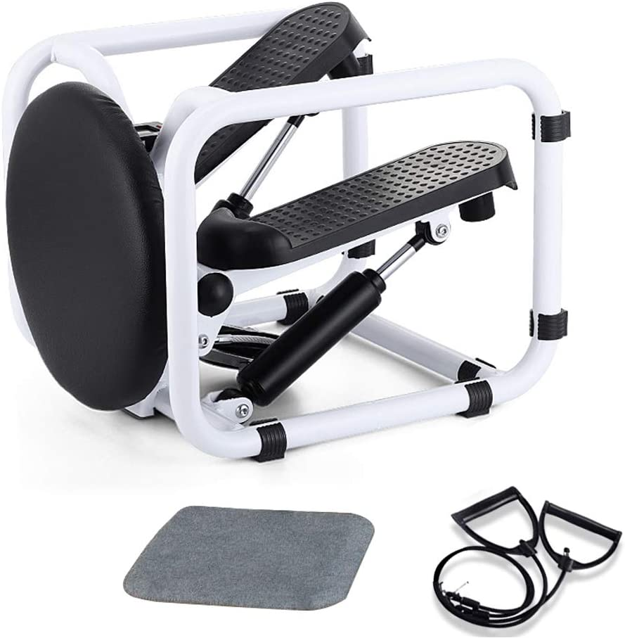 Poncho Stepper Desk Multi-Functional Mini Twist Stepping Machine with Resistance Bands, Indoor Fitness Hydraulic Stair Stepper with Display
