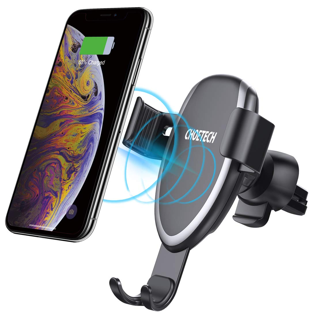 CHOETECH Wireless Car Charger, Fast Gravity Wireless Car Charger Holder 7.5W Compatible with Apple iPhone XR/XS/XS Max/X/8/8 Plus,10W for Galaxy Note 9/S9/S9+,S8/S8+/Note 8, 5W for Huawei Mate 20 pro Shenzhen DAK Technology Co. Limited CA-T536S