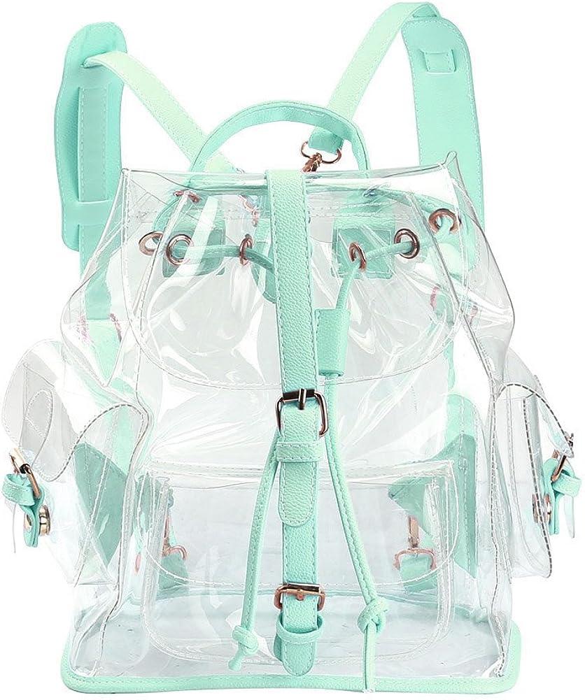 Zicac Clear BackpackDrawstring Transparent Backpack For Girls PVC Bag Satchel