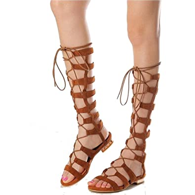 Womens Flat Lace Sandals10 B 5 High Shoe'n Up Knee Gladiator Tale VGqSzMpU