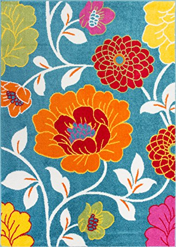 Modern Rug Daisy Flowers Blue 5'X7' Floral Accent Area Rug Entry Way Bright Kids Room Kitchen Bedroom Carpet Bathroom Soft Durable Area Rug