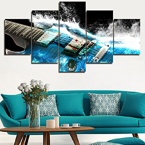 5 Pieces Oil Painting Artistic Blue Guitar Water Waves Music Painting Pictures Prints On Canvas Home Kitchen Hall Wall Art Decoration Hanging Framed by Art Gallery-wrapped Ready to Hang(60