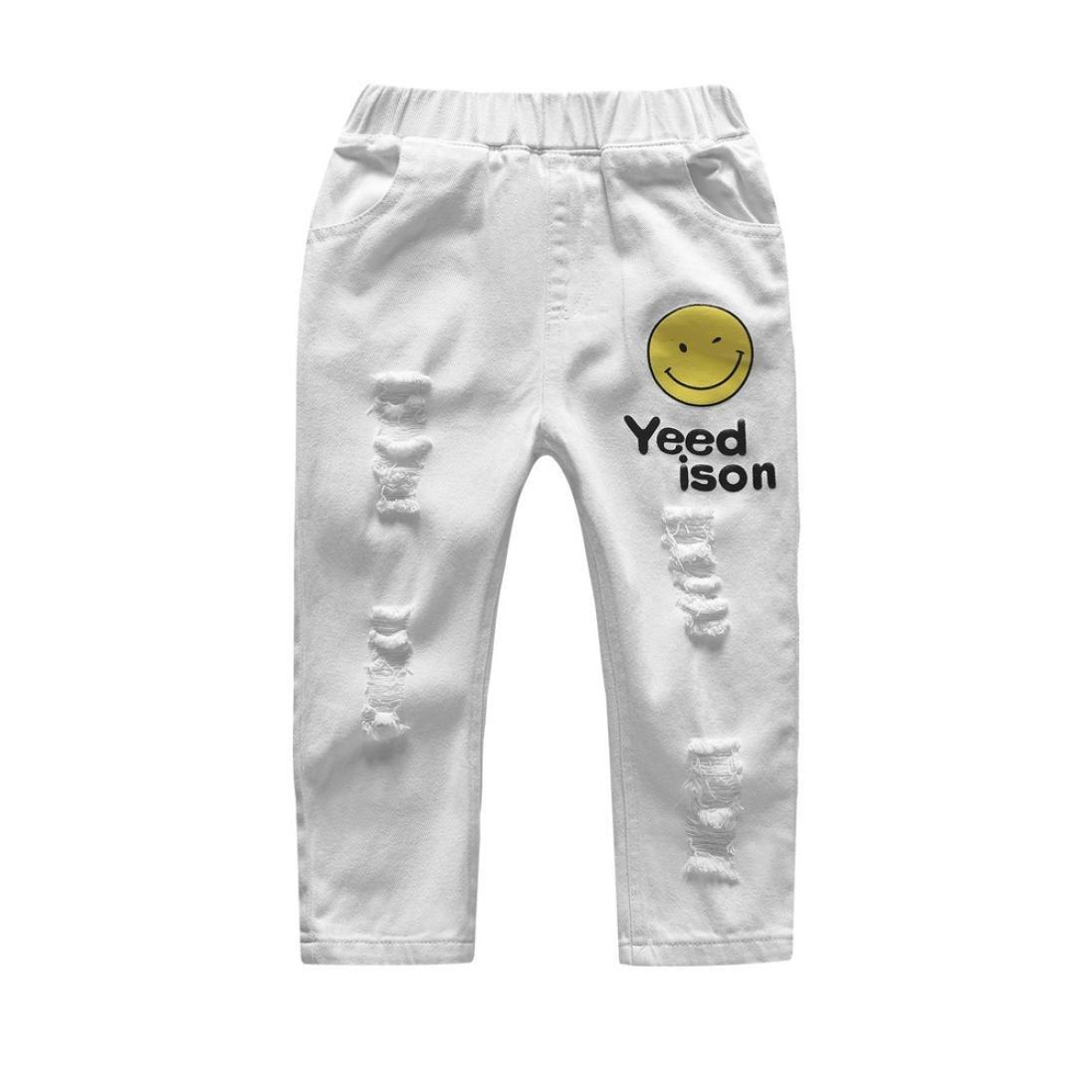 2-9T Children Girls Boys Smile Face Print Ripped Jeans Unisex Kids Denim Pants