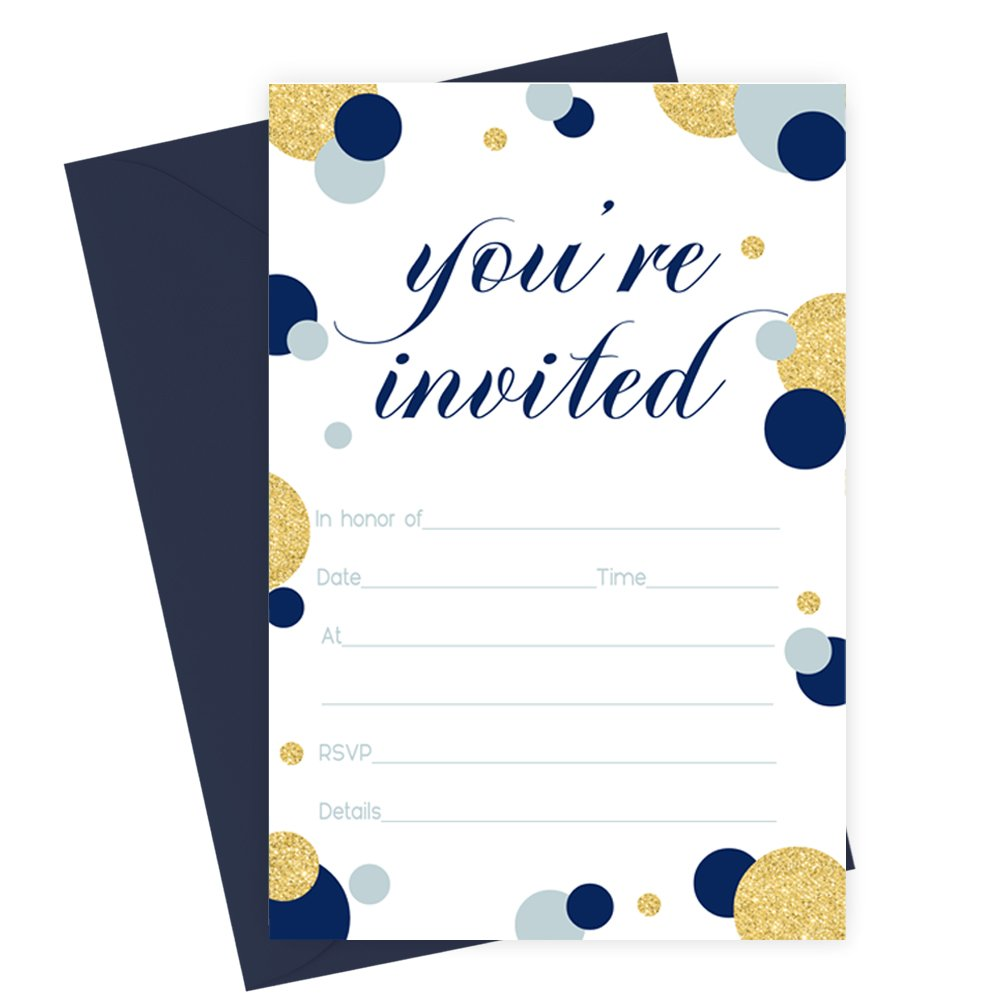 Navy and Gold Invitations with Blue Envelopes Fill In Set of 15