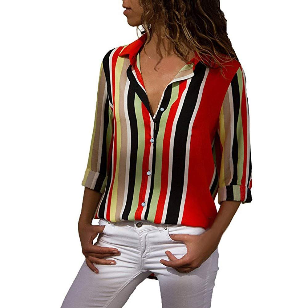 Rambling Womens Casual V Neck Striped Chiffon Blouses Long Sleeve Button Down Shirts Tops Front Pockets