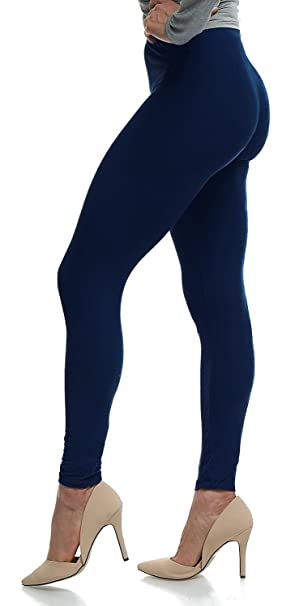 73e08da252237c LMB Women's Ultra Soft Leggings Stretch Fit 40+ Colors - Plus Size -  Admiral Blue