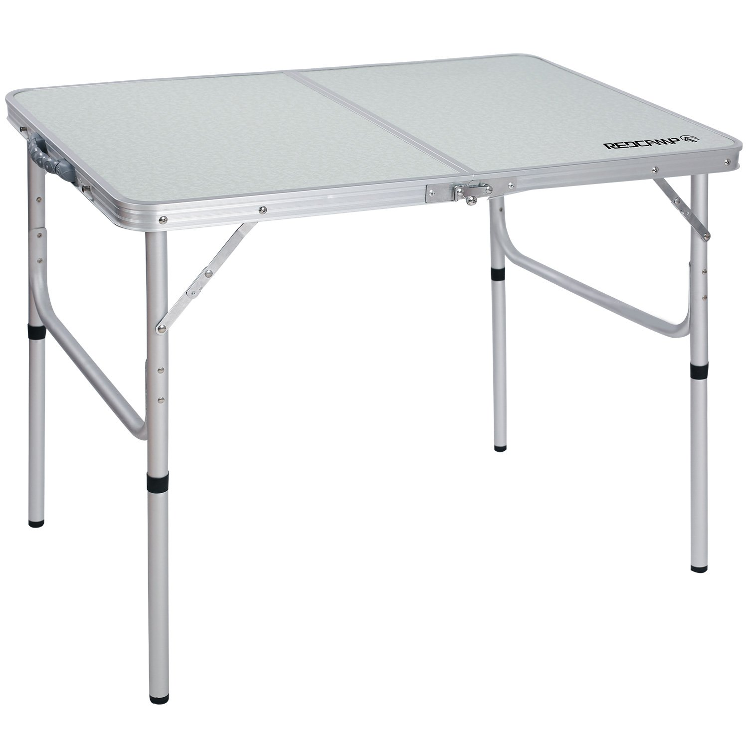 REDCAMP Aluminum Folding Table 3 Foot, Adjustable Height Lightweight Portable Camping Table for Picnic Beach Outdoor Indoor, White 36 x 24 inch by REDCAMP