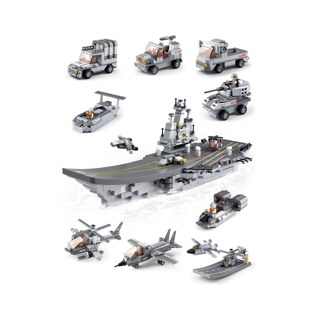Yang baby Children's Educational Toys Assembled Building Blocks Aircraft Carrier Military Model Children's Building Blocks Educational Toys