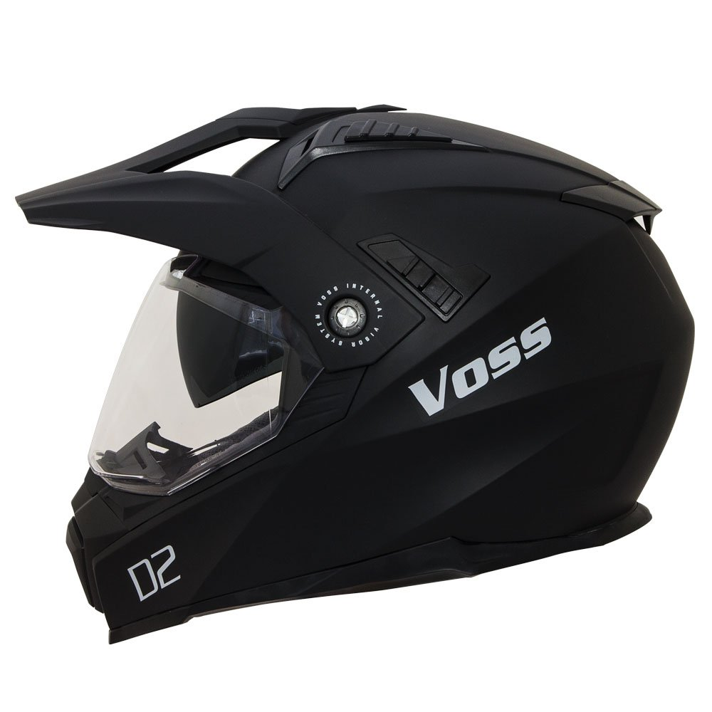 Voss 601 D2 Dual Sport Helmet with Integrated Sun Lens and Ratchet Quick Release System - Large - Matte Black
