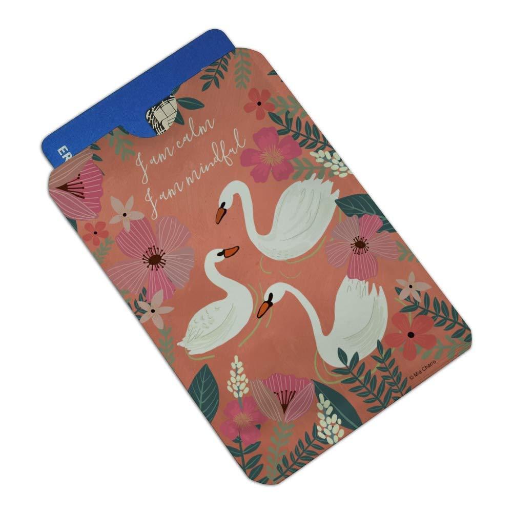 I am Calm I am Mindful Swans Flowers Credit Card RFID Blocker Holder Protector Wallet Purse Sleeves Set of 4