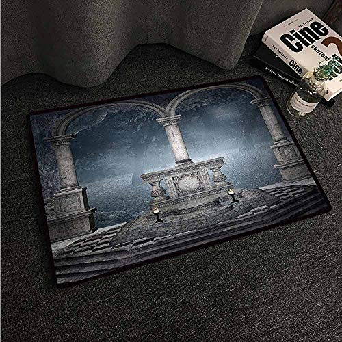 HCCJLCKS Interior Door mat Gothic Altar on Checkered Floor in Scary Hazy Winter Forest Spiritual Scenery Illustration Country Home Decor W35 xL59 Blue Grey]()