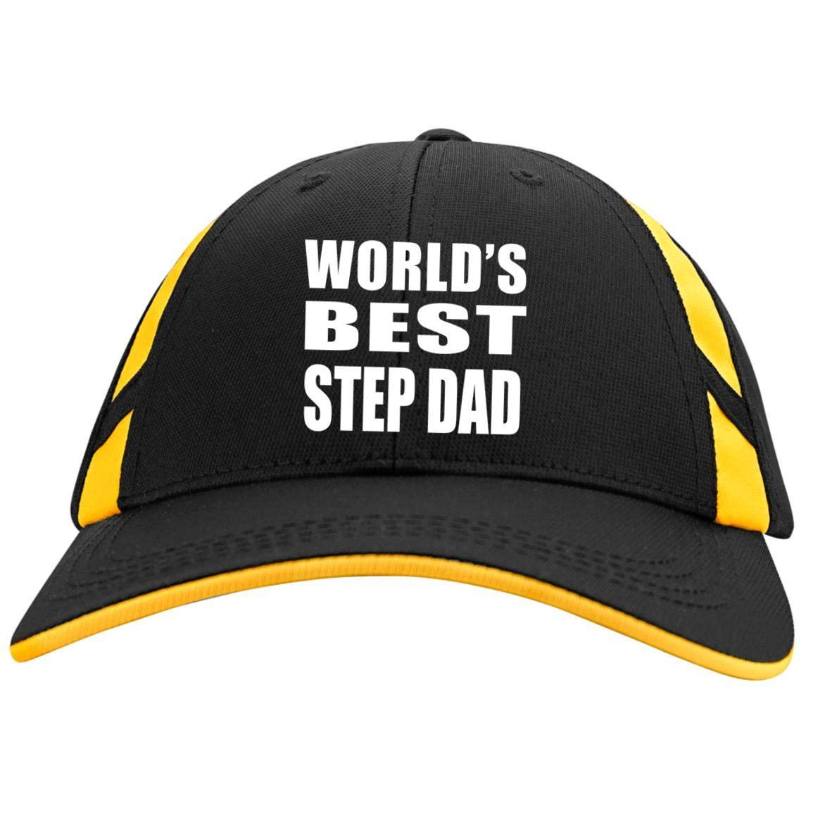 3529a16ed7d Amazon.com  World s Best Step Dad - Mesh Inset Cap Black Gold One Size   Clothing
