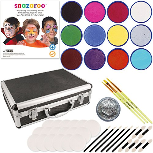 Snazaroo 12 Color Face Painting Kit with Sponges and Aluminum Storage (Snazaroo Face Paint Kit)