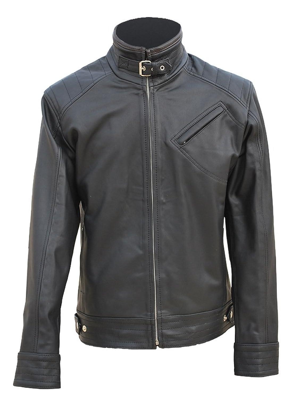 Bourne Legacy Real Black Leather Jacket Jeremy Renner Aaron Cross Vintage