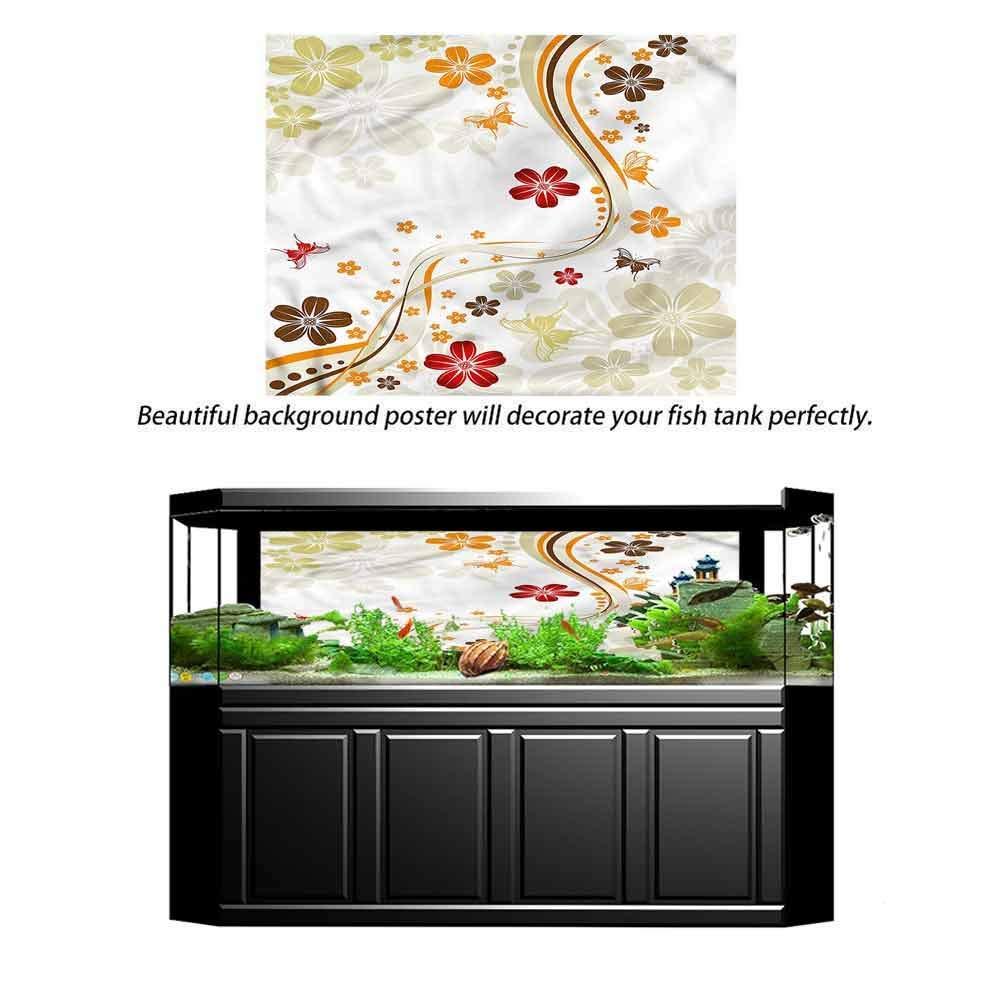 Angel_LJH PVC Waterproof Natural Landscape Fish Bowl Decor Sticker Glass, Aquarium Background Sticker Floral,Summer Season Plum Flower Decals Poster72 L X 24'' H by Angel_LJH