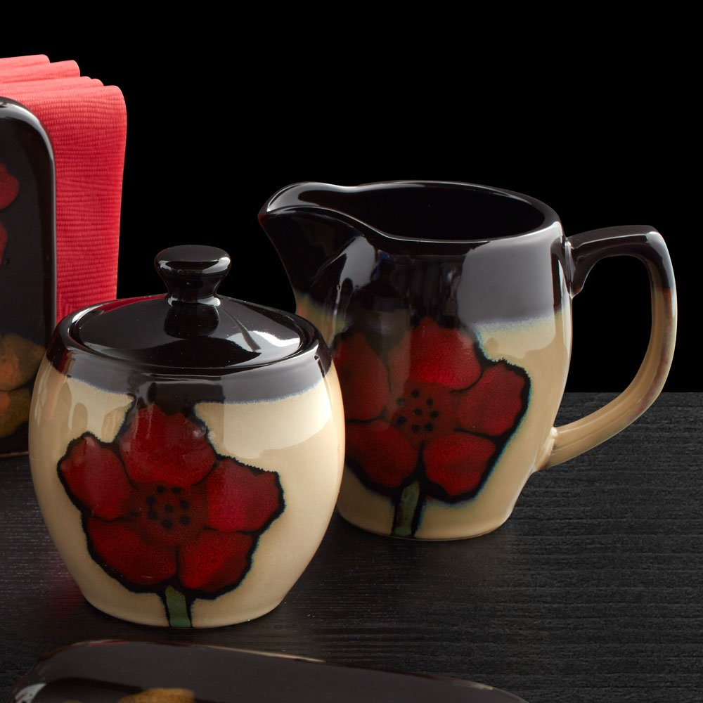 Pfaltzgraff Painted Poppies Sugar Bowl with Lid, 10-Ounce COMINHKPR72417