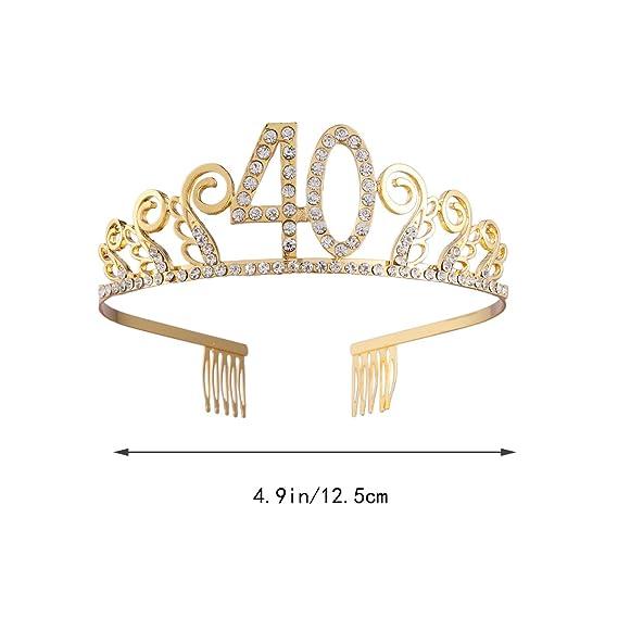 Frcolor Corona Cumpleaños 40 Diadem Tiara con Pelo Peine ...