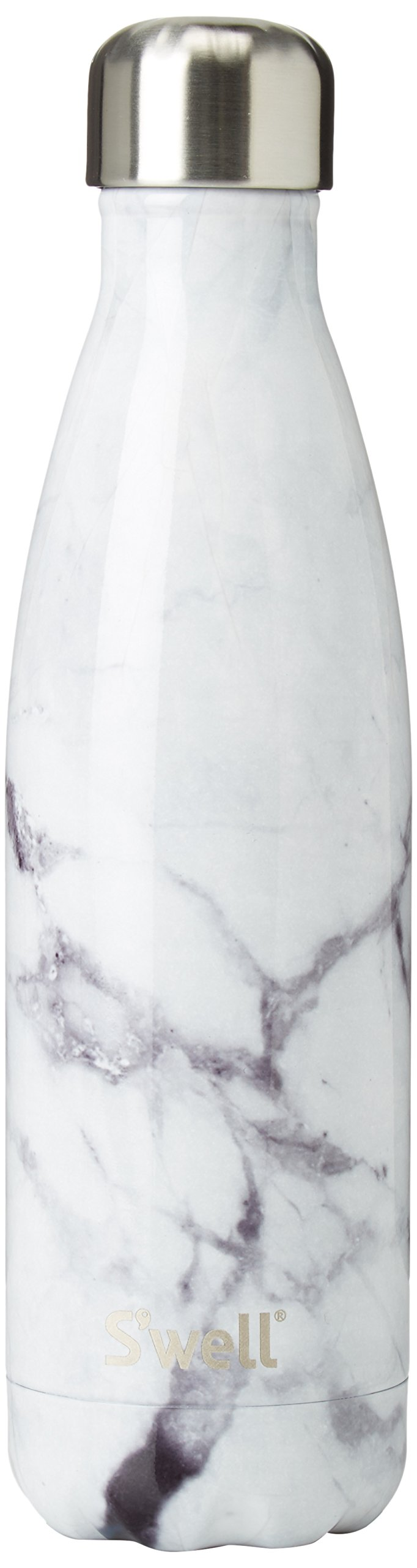 S'well Vacuum Insulated Stainless Steel Water Bottle, 17 oz, White Marble