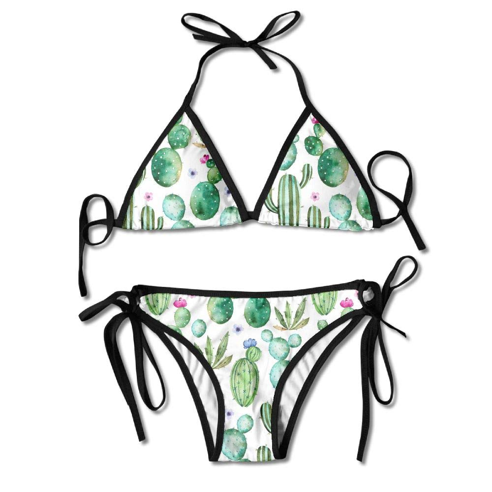 Women's Green Cactus Pattern Sexy 2-Piece Bikini Set Swimsuit Bathing Suits Padded Bra by KJDS