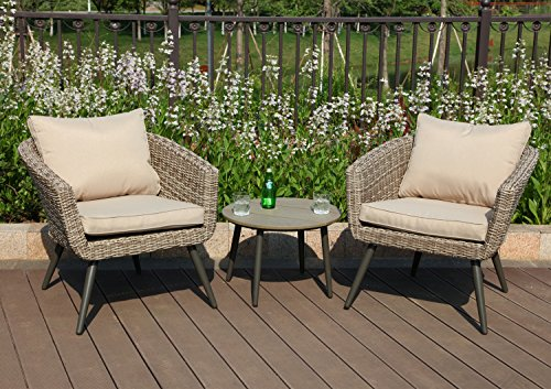 PHI VILLA 3 Piece Outdoor Patio Rattan Wicker Sofa Barrel Chairs and Polywood Round Coffee Table Furniture Set - Brushed Rattan with Gradual Changing Color (1 Barrel 2 Coffee Table)