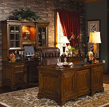Amazon.com: Old World Executive Home Office Desk Furniture ...