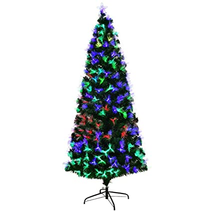 Goplus 6FT Artificial Christmas Tree Pre-Lit Optical Fiber Tree 2 Flash  Modes W/ - Amazon.com: Goplus 6FT Artificial Christmas Tree Pre-Lit Optical