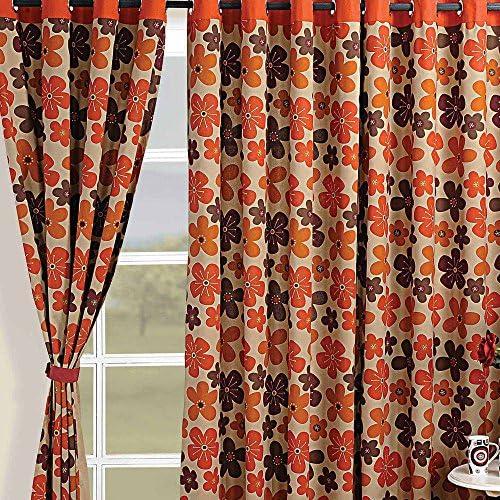 Shalinindia Colorful Cotton Window Curtains-54 x 60 Inch-Modern Orange