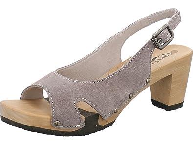 Softclox Sandalette mit Holzboden Größe 37 Grey (Hazelnut) 7b1l2