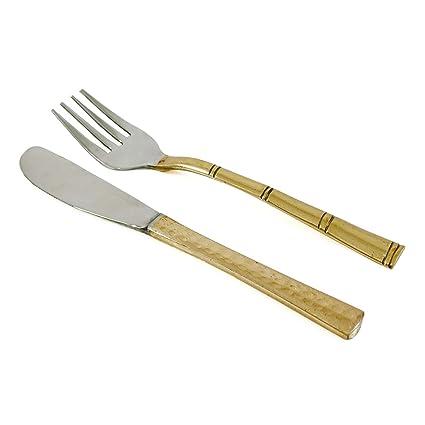 Indian Acero Cobre Cubiertos Tenedor tradicional cuchillo Dinnnerware Set de cubiertos para 2