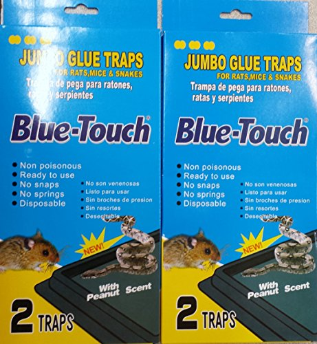 (2 Packs of 2 Blue-Touch Jumbo Rat, Mice, and Snake Traps Total 4 Traps))