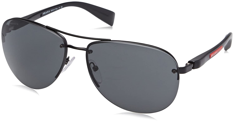 Prada Linea Rossa PS 56Ms (65) Gafas de sol, Black Demi Shiny, 62 para Hombre