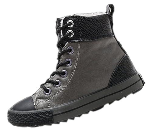 56c441bac4 VECJUNIA Boys Girls Plush Dress Martin Boots Classic Lace up Cold Weather  Shoes Dark Gray 8.5