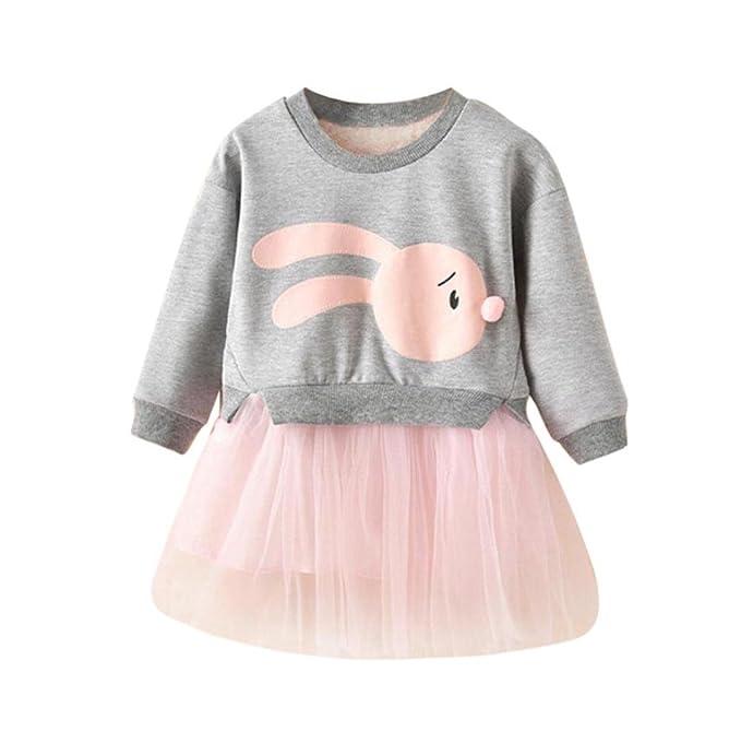 Vestido para bebé niña,Yannerr Chica punto dibujos animados Hilado patchwork fiesta princesa falda invierno